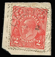 Lot 1293 [1 of 2]:Custon (1): (B2) 1895 Type F1 strike on 2d orange, also largely complete (1920s?) squared-circle datestamp tying KGV 2d red to piece, both cancels [Rated 3R]. (2) PO 20/2/1882; closed 28/2/1908.