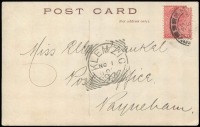 Lot 1208 [1 of 2]:Klemzig (1): (B1) complete 'KLEMZIG/NO1/0[5]/S_A' squared-circle cancel on message side of PPC addressed to Payneham, [Rated 3R].  PO 1/8/1903; renamed Gaza PO 1/7/1918.