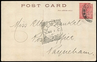 Lot 373 [1 of 3]:Klemzig (1): (B1) complete 'KLEMZIG/NO1/0[5]/S_A' squared-circle cancel on message side of PPC addressed to Payneham, [Rated 3R].  PO 1/8/1903; renamed Gaza PO 1/7/1918.