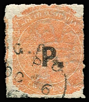 Lot 829 [2 of 3]:Police 'P.' in blue or in black on Crown/SA 2d rouletted, and in black on Crown/SA P12x10, all with Watermark reversed. (3)