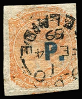 Lot 829 [1 of 3]:Police 'P.' in blue or in black on Crown/SA 2d rouletted, and in black on Crown/SA P12x10, all with Watermark reversed. (3)