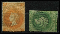 Lot 587 [2 of 2]:1: on Rouletted 1/- orange (Cat £50), complete '4' (Gawler Station) tying Rouletted 2d to piece & '5' (North Adelaide) on Rouletted 1d, all are [Rated R]. (3)