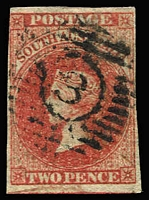 Lot 831:3: Numeral-in-circle '3' receiving office cancel used on imperf 2d, office unknown, [Rated 3R].