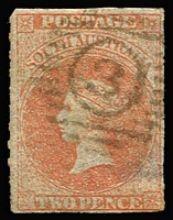 Lot 1195:3: Numeral-in-circle '3' receiving office cancel used on rouletted 2d, office unknown, [Rated 3R].