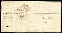 "Lot 1283 [2 of 2]:1843 (Dec 20) entire to Scotland endorsed ""per James"" rated ""6"" in red & ""8"" in black, with early example of oval 'SHIP LETTER/MELBOURNE' datestamp in red, May 12 1844 arrival datestamp, some blemishes."
