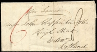 "Lot 1283 [1 of 2]:1843 (Dec 20) entire to Scotland endorsed ""per James"" rated ""6"" in red & ""8"" in black, with early example of oval 'SHIP LETTER/MELBOURNE' datestamp in red, May 12 1844 arrival datestamp, some blemishes."