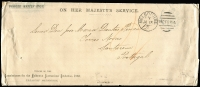 "Lot 1167:Chief Secretary: 1879 long printed cover to Portugal, rated ""2"" with 'Commissioners for the Melbourne International Exhibition, 1880' imprint at lower-left & endorsed 'PRINTED MATTER ONLY' at upper-left, Chief Secretary Frank Karman #V340.4 handstamp in blue with Melbourne '5Y/JA13/79' (ERD) duplex alongside, without arrival datestamp, few opening faults at left, quite fine overall. [John Lancaster's similar envelope, sent to the Netherlands, sold for $248 at the October 2016 sale of his Trade Exhibition Collection]"