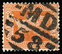 Lot 1139:1558: (A2) boldly struck Type 15B strike on 1d orange-brown, [Rated 3R].  Allocated to Timboon-PO 7/3/1887; LPO 3/9/1996.