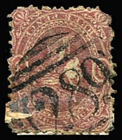 Lot 926:289: (A2) fine and largely complete Type 2C strike on 3d maroon Beaded Oval (defective), [Rated 3R].  Allocated to Hotham-PO 20/3/1860; renamed North Melbourne PO c.-/10/1887.