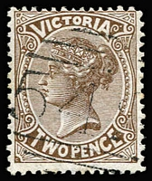 Lot 1138:542: (C2) slightly weak but discernible Type 5 strike on 2d brown, [Rated 4R].  Allocated to Mack's Creek-PO 1/11/1865; renamed Kevington PO 1/10/1884; closed 31/1/1974.