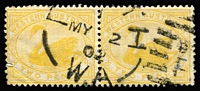 Lot 1278:1898-1907 Wmk W Crown A 2d bright yellow Watermark inverted horizontal pair, left-hand unit with margin fault, Cat £260. Rare multiple.