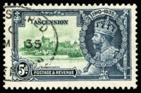 Lot 2205:1935 Silver Jubilee 5d variety Kite and vertical log SG #33k, very fine used, Cat £500.