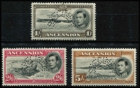 Lot 2206 [2 of 3]:1938-53 KGVI Pictorials ½d to 10/- set perforated 'SPECIMEN' SG #38s-47s, very fine mint, Cat £1,000. One of the rarer KGVI Specimen sets.