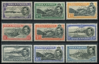 Lot 2206 [3 of 3]:1938-53 KGVI Pictorials ½d to 10/- set perforated 'SPECIMEN' SG #38s-47s, very fine mint, Cat £1,000. One of the rarer KGVI Specimen sets.