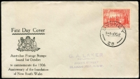 Lot 853 [2 of 2]:Haslem 1937 NSW Sesquicentennial set to registered printed cover by Melbourne '1OC37' datestamps (two with 1SE37' slug error); also elusive Laker cover produced only for the 2d tied by Sydney 1OC37 datestamp, Laker handstamped address, fine condition. (2)