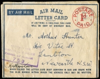 Lot 802 [2 of 3]:Australia 1943 x2 and 1944 uses of 'POSTAGE/1d/PAID' Air Mail Letter Cards, one censored uncancelled, another with 'AUST UNIT POSTAL STN/351' datestamp, blue on white censor tape & dual censor handstamps; usual rough opening, otherwise good condition. (3)