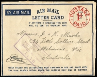 Lot 802 [3 of 3]:Australia 1943 x2 and 1944 uses of 'POSTAGE/1d/PAID' Air Mail Letter Cards, one censored uncancelled, another with 'AUST UNIT POSTAL STN/351' datestamp, blue on white censor tape & dual censor handstamps; usual rough opening, otherwise good condition. (3)