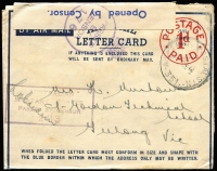 Lot 802 [1 of 3]:Australia 1943 x2 and 1944 uses of 'POSTAGE/1d/PAID' Air Mail Letter Cards, one censored uncancelled, another with 'AUST UNIT POSTAL STN/351' datestamp, blue on white censor tape & dual censor handstamps; usual rough opening, otherwise good condition. (3)