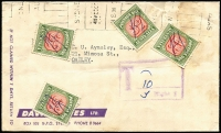 Lot 818 [3 of 5]:1900s-50s Taxed Covers including 1901 from Racine (USA) to Dandenong (Vic) with superb 'T3D'-in oval with Victoria 1d & 2d Dues added, 1919 Melbourne use of OHMS lettersheet unstamped with ½d Dues x3 added; also early 1900s underpaid PPCs with dues added, 1950s Mutual Life Assurance Co covers or fronts underpaid for weight with single 5d Due added x24, single 7d Due added x2, plus taxed with no dues added x13; condition is quite mixed with a number of front or part-covers only. (65)