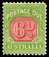 Lot 824:1931-37 Wmk CofA 6d carmine & yellow-green P11 BW #D120, mint, Cat $475 (Gibbons SG #D110, Cat £375). Rarely offered.