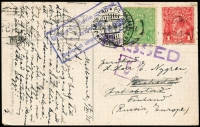 Lot 962:1915 (Dec 8) PPC (Elizabeth St, Melbourne) to Finland (Russian Empire) with KGV 1d red & ½d green tied by Melbourne machine cancel, 'PASSED' censor handstamp in violet, boxed cyrillic censor handstamp & Jakobstad arrival datestamp. Elusive WWI destination.