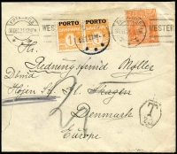 Lot 964 [1 of 4]:1921-27 KGV Covers With Dues Added comprising [1] 1921 to Denmark with 2d orange with 1ore SG #D214 pair added, Skagen backstamp; [2] 1927 (Feb 6) Orlo-Smith (stamp dealer) to Sweden, postage due label attached & 25ore Gustav SG #129 attached in lieu of postage due; [3] 1926(?) George Wills & Co to USA with KGV 1d green & 1½d red (Perf 'GW'), five-line handstamped admonition on reverse, USA 2c due added; also [4] 1927 mixed franking cover to Denmark with KGV 1½d & 1d plus Denmark 10ore 75th Stamp Anniv, untaxed; few blemishes, generally fine. (4)