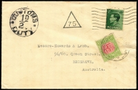 Lot 2120 [1 of 2]:1937 printed matter cover from GB franked with ½d KEVIII, addressed to Brisbane, 'CUSTOMS/½dD/DUTY' applied and 1931-37 CofA ½d Postage Due affixed in lieu of Customs Duty stamp & tied by Brisbane datestamp ('15FE37' - clear strike on reverse). Rare solo use of ½d for this purpose.