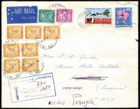 Lot 922 [1 of 2]:1969 (Dec 6) cover franked with 25c Orchid & 5c Wrigley tied by Mt Isa (Qld) slogan datestamp correctly paying 30c airmail rate to Italy, redirected on arrival at San Remo attracting a 770l charge for rail transit fee to Perugia. Most attractive.