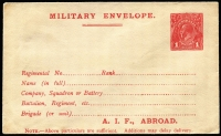 Lot 844:1916-17 1d Red Military Envelope Inscribed 'A.I.F. ABROAD' on off-white/cream paper, BW #ME4A, fine unused (flap sealed), Cat $300.