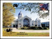 Lot 2348:2013 45c Royal Exhibition Building Postcard x3, overprinted in gold for Indonesia 2012 World Stamp Championship and again as a limited edition for 2013 Centenary of Kangaroo Stamps, numbered consecutively between '86' to '88' of '250' issued. (3)