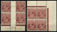Lot 861 [2 of 2]:1½d Red-Brown Die II Plate 1 Ash imprint block of 4 BW #94(1)za, even toning; also Plates 1 & 3 (gum toning) Plate dot blocks of 4, hinge remnants, Cat $240. (3 items)