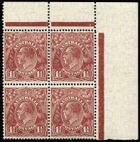 Lot 861 [1 of 2]:1½d Red-Brown Die II Plate 1 Ash imprint block of 4 BW #94(1)za, even toning; also Plates 1 & 3 (gum toning) Plate dot blocks of 4, hinge remnants, Cat $240. (3 items)