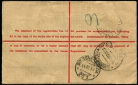 Lot 674 [2 of 2]:1/4d Greenish Blue BW #131 + 3d KGVI used to uprate 5d KGVI Registration Envelope from Sydney to Italy paying 1/9d airmail rate plus 3d registration, Brindisi Transiti, Bologna-Venezia & Udine (arrival) backstamps, 1/4d alone Cat $300 on cover.
