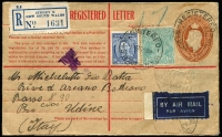 Lot 674 [1 of 2]:1/4d Greenish Blue BW #131 + 3d KGVI used to uprate 5d KGVI Registration Envelope from Sydney to Italy paying 1/9d airmail rate plus 3d registration, Brindisi Transiti, Bologna-Venezia & Udine (arrival) backstamps, 1/4d alone Cat $300 on cover.