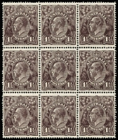 Lot 648:1½d Black-Brown Die I Electro 2 Watermark inverted positional block of 9 with varieties Retouched right frame and shading line below wattle stem, 'TA' of 'POSTAGE' joined at top & White spot below 'ST' of 'POSTAGE' BW #84a, few nibbed perfs, lower 6 units MUH, Cat $1,350+ (without premium for the flaws).