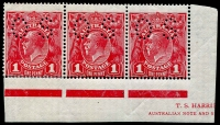 Lot 275:1d Red Perf 'OS' part Harrison imprint strip of 3 [VII/58-60] with variety 'RA' Joined BW #74b(4)j, some perf separations & reinforcements, variety unit with mild corner crease, Cat $3,000 (for a complete imprint block).