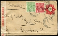 Lot 584 [1 of 2]:½d Green BW #63 variety White spot in border above left wattles plus 1d red uprating 1d KGV Stationery Envelope addressed to Switzerland tied by Brisbane datestamps, red & white censor tape, Milan two-line foreign mail handstamp in red on reverse and Basel arrival backstamp, fine condition.