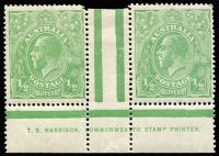 Lot 629:½d Green Comb Perf Electro 6 Harrison one-line imprint ('COMMONWEALTH') pair BW #63(6)z, corner perf blemish on one unit, hinged in central gutter (one unit just touched) Cat $750 (as imprint block of 4).