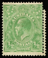 Lot 612:½d Green Comb Perf variety Double perfs at left BW #63b, mint, Cat $150.