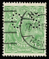 Lot 177:½d Green Comb Perf Electro 5 variety Cracked electro left wattle to 'U' [5L46] perf 'OS, BW #63ba(5)h, very well centred, fine used, Cat $5,000 as an unpunctured stamp, with Perf 'OS' examples being significantly rarer. Drury Certificate (2017).