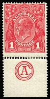 Lot 609:1d Red Die III 'CA' Monogram single BW #75zc, light hinge reinforcement at base, very fine mint, Cat $750.