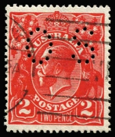Lot 2065:2d Intense Scarlet (Aniline) Perf 'OS' BW #96Fb, fine used. The only used example we have encountered, ACSC list this as mint stamp only (Cat $1,500). Drury Certificate (2013).
