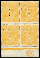 Lot 2066:4d Pale Orange-Yellow Perf 'T' Plate 1 'JBC' Monogram block of 4 BW #110Eza with varieties Dot on '4' at left [1L49] & Lower left frame worn [1L56], lower units MUH. Fine & fresh. Drury (2016) & RPSofL (1991) Certificates.