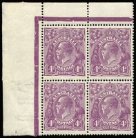 Lot 2068:4d Violet Plate 2 upper-right corner block of 4 with varieties Left frame broken at top & Thin 'FOU' of 'FOUR' (retouch) with early state of damage to '4' at left [2L7-8] BW #111(2)d&ea, fine MUH, Cat $850++. Rare positional block. Drury Certificate (2016)