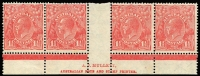Lot 664:1½d Red Die II Translucent paper Mullett imprint strip of 4 with Fifth void correction showing thick & blotchy second line of imprint and vertical colour dash below R55, fine mint, Cat $500++.