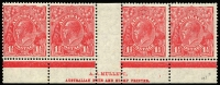 Lot 665:1½d Red Die II Mullett imprint strip of 4 with Fifth void correction showing thick & blotchy second line of imprint and vertical colour dash below R55, outer units MUH, Cat $300 (as an imprint block of 8).