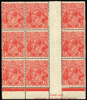 Lot 666:1½d Red Die II Ash imprint block of 9 with variety Shading behind kangaroo, etc - Type B re-entry [4L47] BW #92(4)fa and Notch on outside of right frame - retouch [4L60], few reinforced perf separations and mild gumside toning, seven units MUH, Cat $350+.