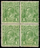 Lot 574:1d Green block of 4 [VII 53-54 & 59-60] with varieties Ferns, and 'RA' joined BW #81(4)ia&j, some gun toning, lower units MUH, Cat $600+.