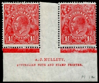Lot 286:1½d Red Die II Plate 1a Mullett imprint pair BW #91(1a)za, right-hand unit Colour flaw on king's neck, MLH, Cat $1,250 (as a block of 4). Scarce.