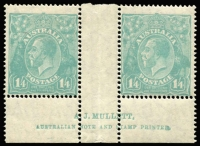 Lot 293:1/4d Greenish Blue Mullett imprint pair BW #129z, mildly toned gum, right-hand unit MUH, Cat $3,500 (as an imprint block of 4).